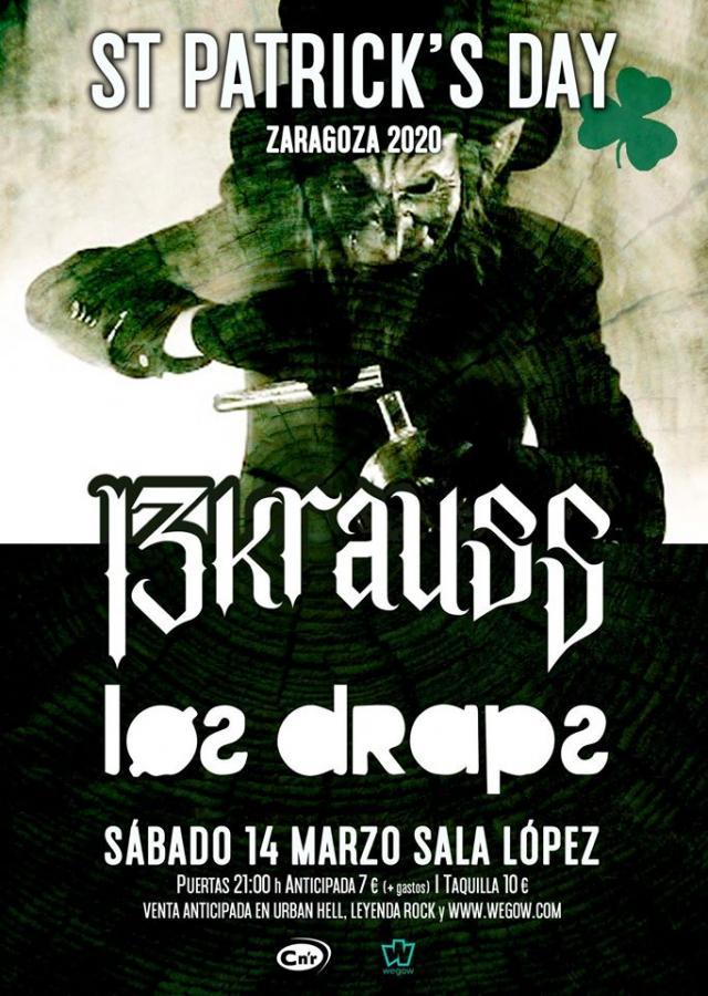 Poster del concierto 13Krauss en St. Patrick's Day de Zaragoza