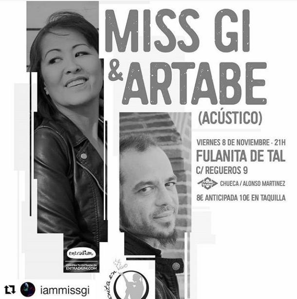 Poster del concierto Miss Gi y Artabe