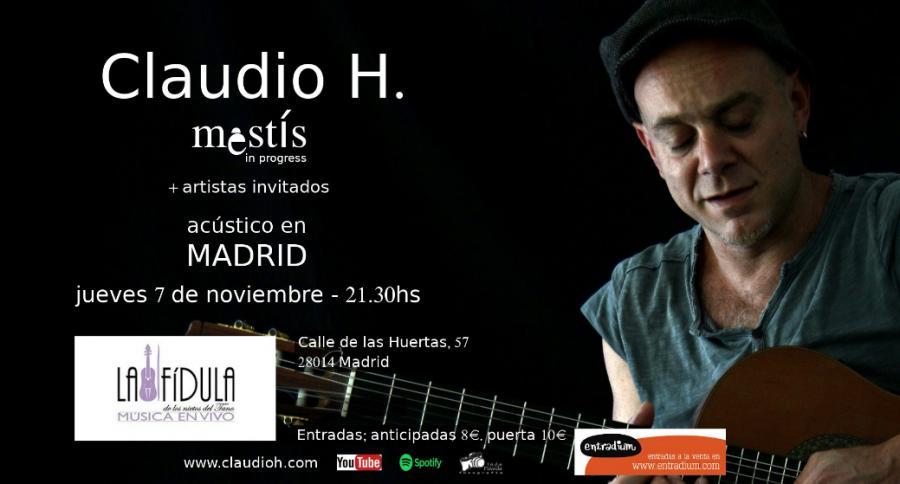 Poster del concierto Claudio H en la Fídula