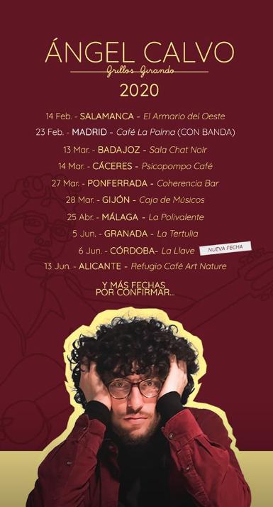 Poster del concierto Ángel Calvo en Granada (CANCELADO)