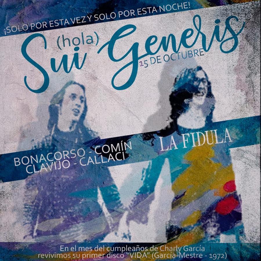 """Poster del concierto Manu Clavijo en la Fídula en """"Vida"""" de Sui Generis"""