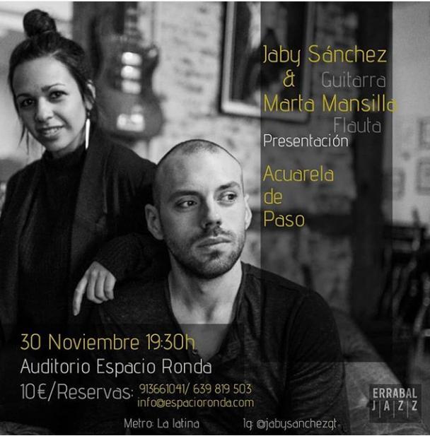 Poster del concierto Presentación Disco Acuarela de Paso Jaby Sánchez y Marta Mansilla