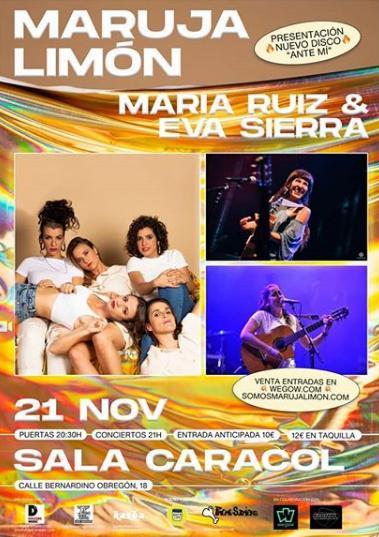 Poster del concierto Maruja Limón en la Sala Caracol