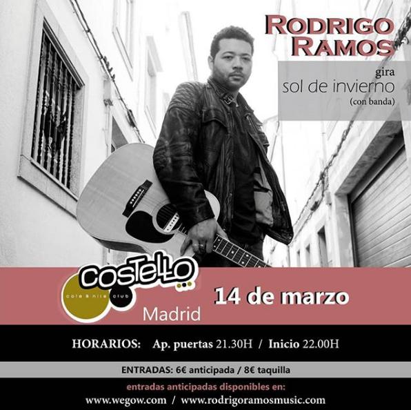 Poster del concierto Rodrigo Ramos en Costello Club (CANCELADO)