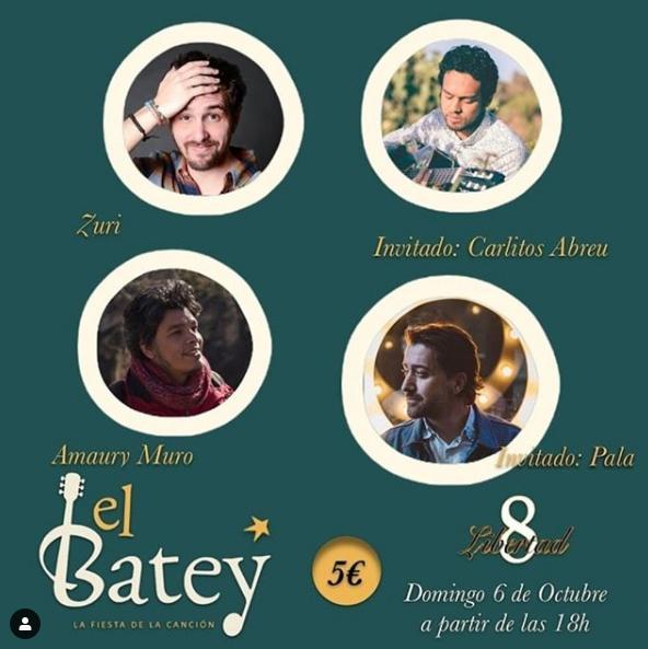 Poster del concierto Fiesta de la canciópn El Batey, en el café Libertad 8 Madrid